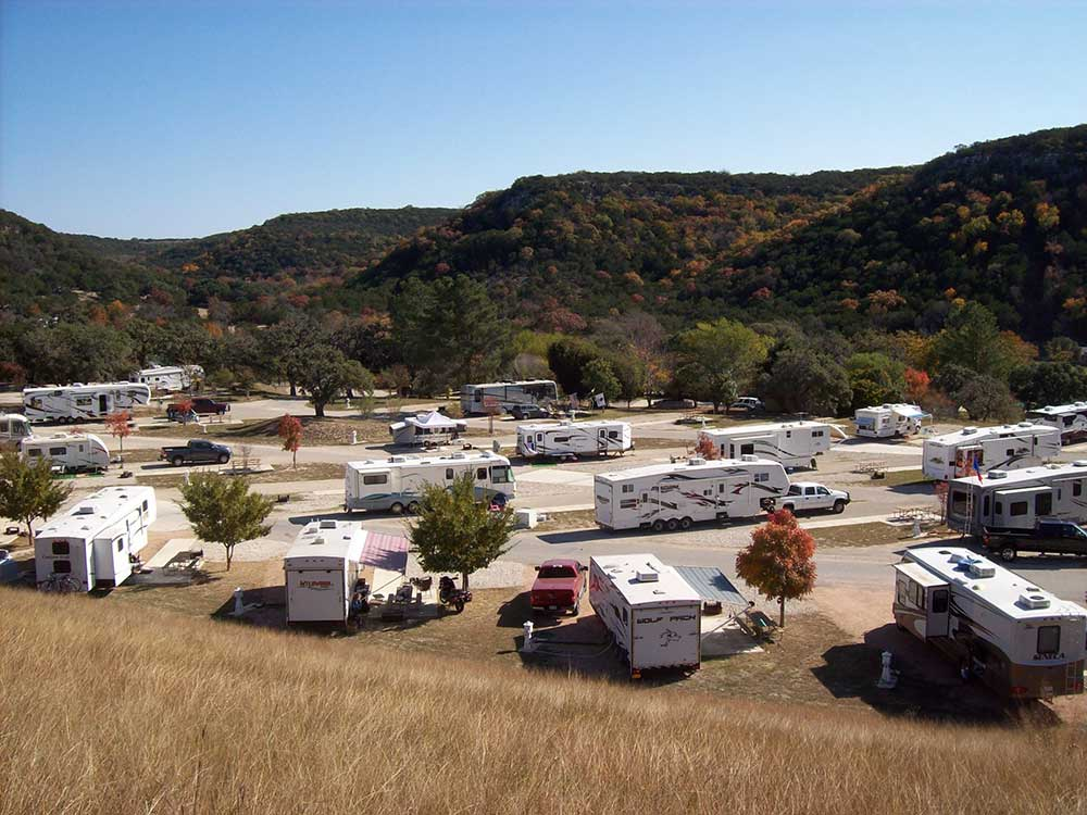 Trailers and RVs camping at MEDINA HIGHPOINT RESORT