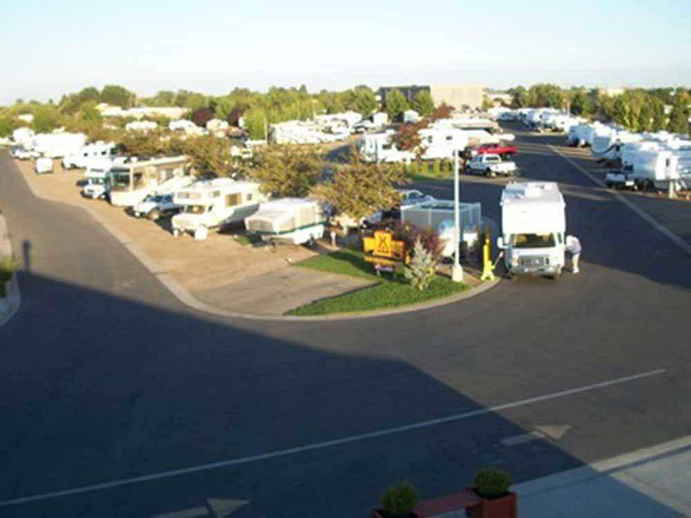 Aerial view over campground at BOISE MERIDIAN KOA RV RESORT