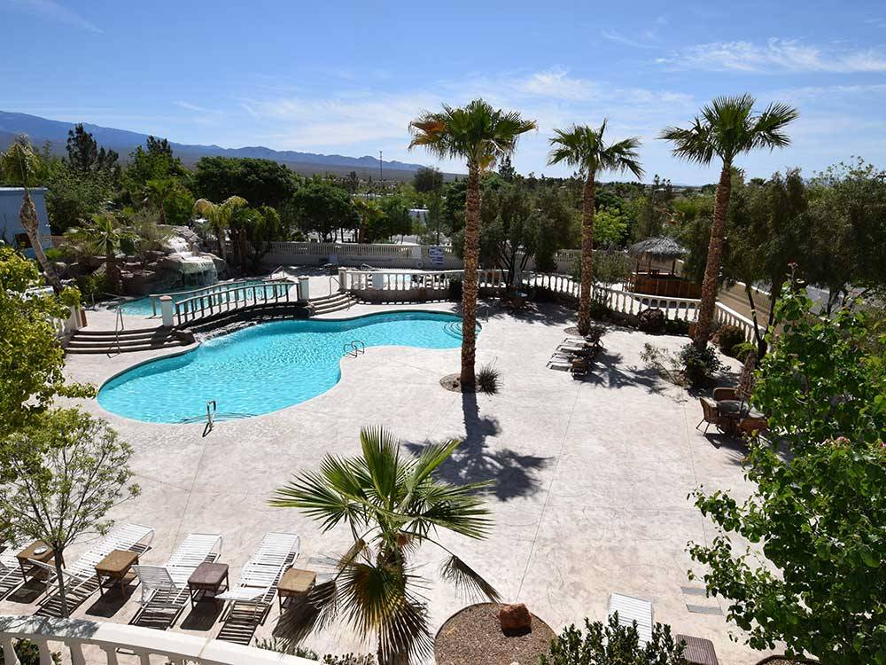 Swimming pool and large deck area at NEVADA TREASURE RV RESORT