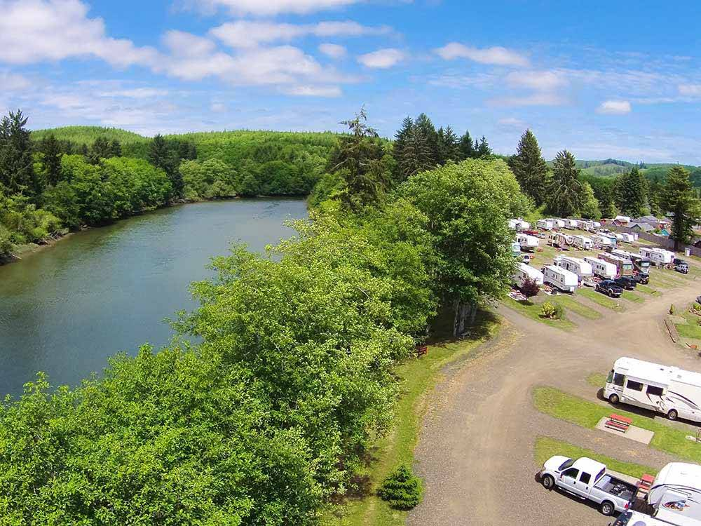View of the park office and trees at HOQUIAM RIVER RV PARK