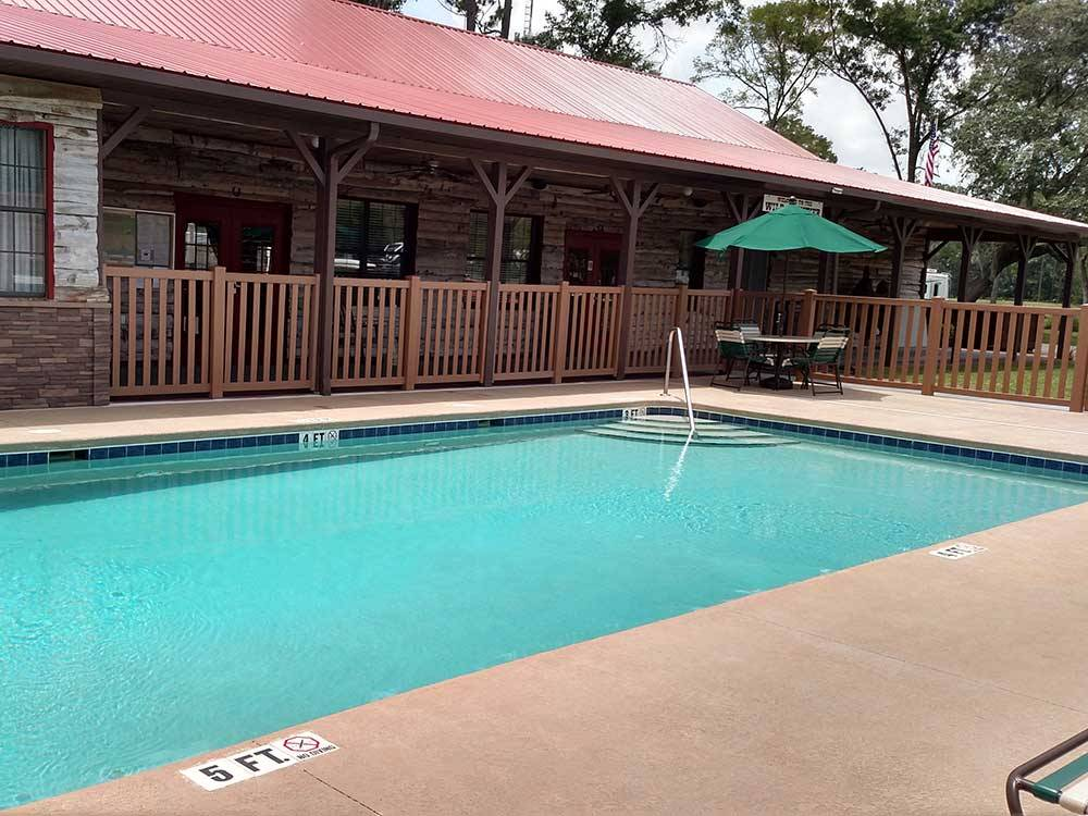 Swimming pool and deck area at WILD FRONTIER RV RESORT