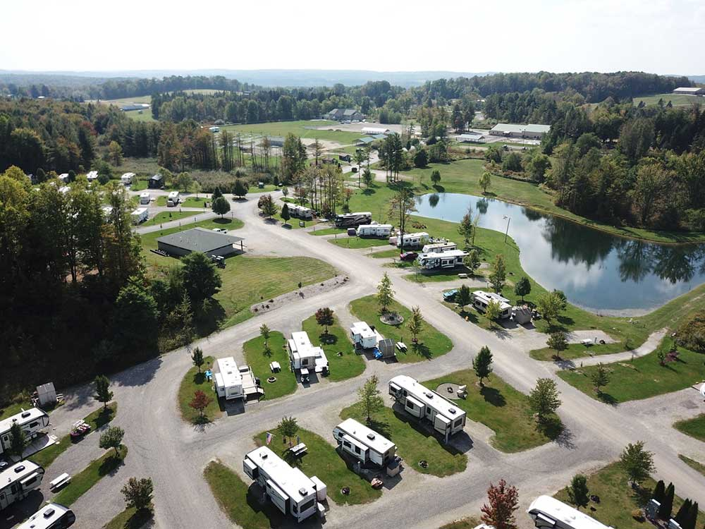 Aerial view over campground at SPARROW POND FAMILY CAMPGROUND  RECREATION CENTER