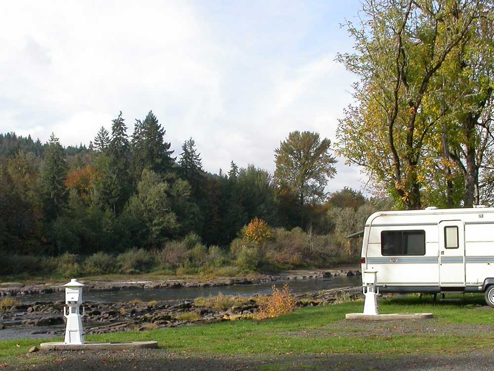 Trailer camping on the water at ELKTON RV PARK