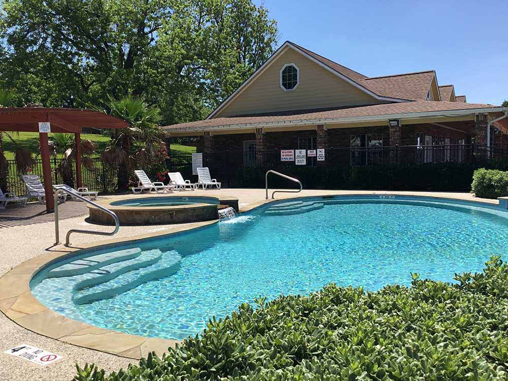 Aerial view of pool and office at SAN JACINTO RIVERFRONT RV PARK