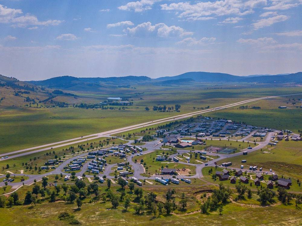 Aerial view of entire area at ELKHORN RIDGE RV RESORT  CABINS