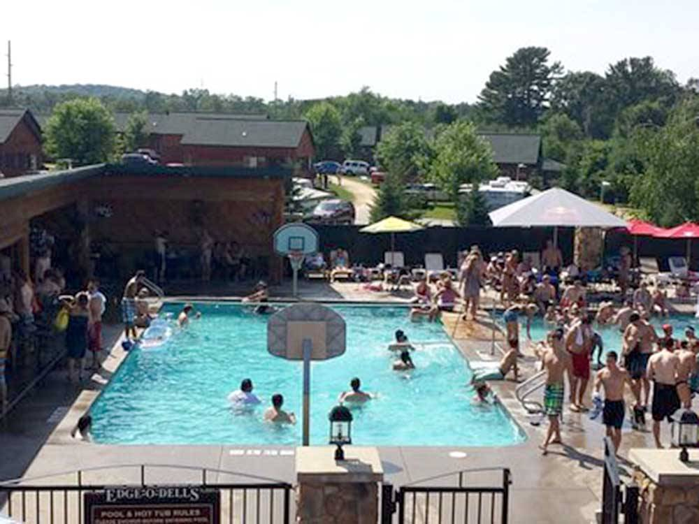 Aerial view over campground at EDGE-O-DELLS CAMPING  RV RESORT