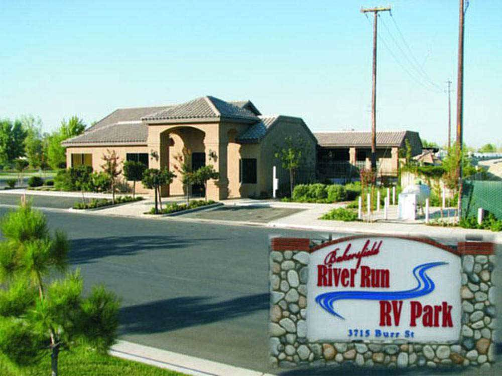 Sign at entrance to RV park at BAKERSFIELD RIVER RUN RV PARK