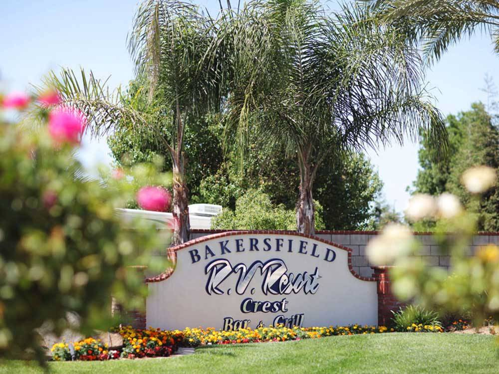 Sign at entrance to RV park at BAKERSFIELD RV RESORT