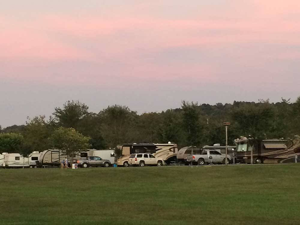 Grassy RV sites with a pink sky at WILLS CREEK RV PARK
