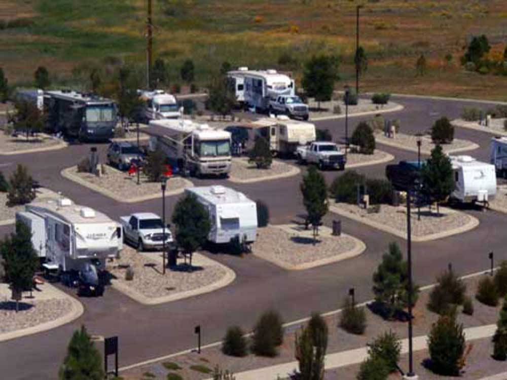 Aerial view of paved RV sites at SKY UTE CASINO RV PARK
