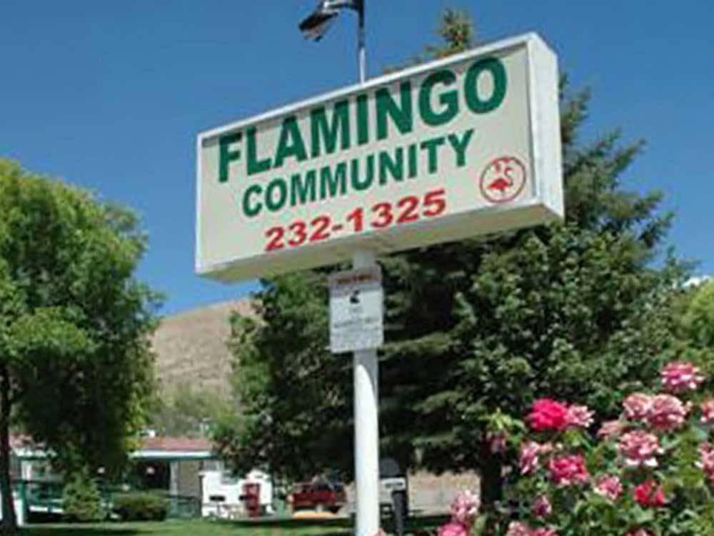 Sign at entrance to RV park at FLAMINGO MANUFACTURED HOUSING COMMUNITY