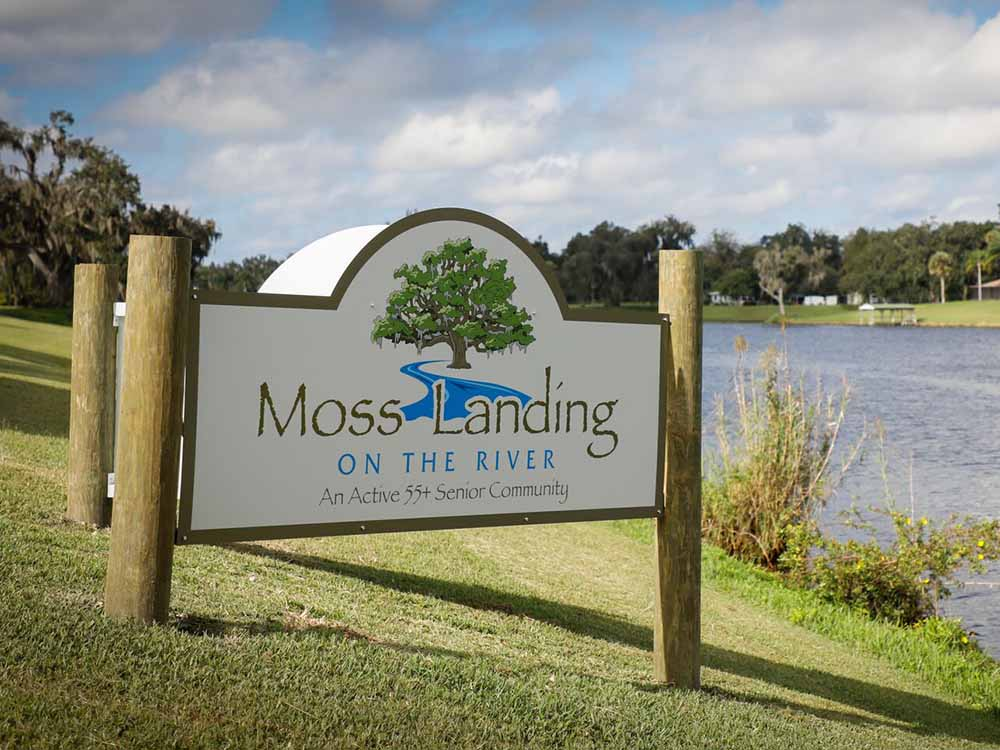 The front entrance sign by the water at MOSS LANDING RV RESORT