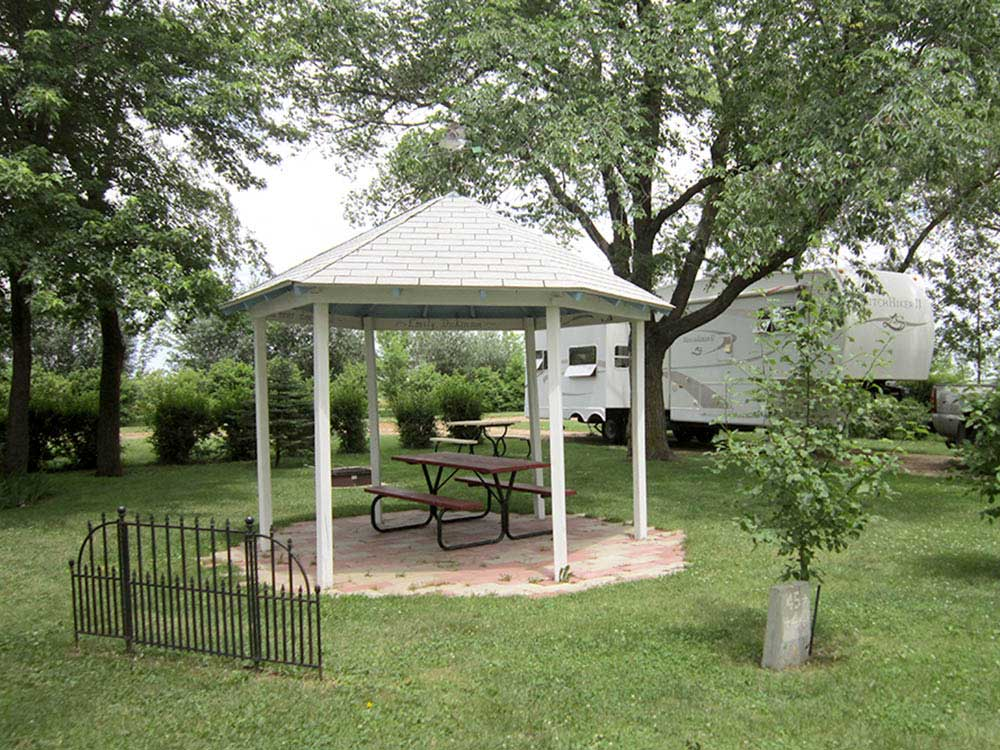 Patio area with picnic table at DAKOTA SUNSETS RV PARK  CAMPGROUND