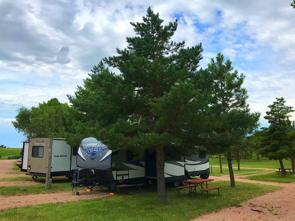 Dirt RV sites with a tree and picnic bench at AMERICAN INN  RV PARK