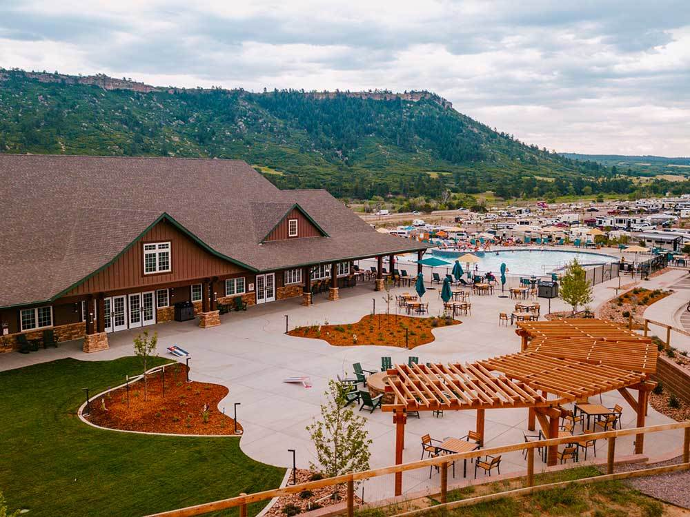 An aerial view of the clubhouse and pool at YOGI BEARS JELLYSTONE PARK  LARKSPUR