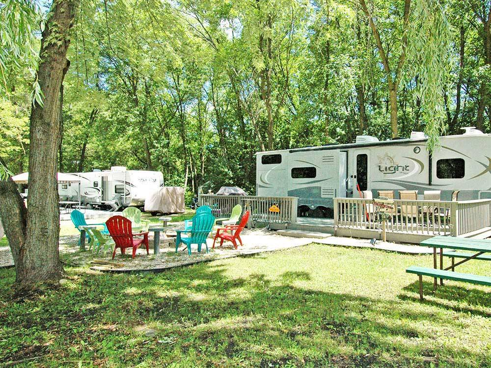 RVs and trailers at campground at LAKELAND CAMPING RESORT
