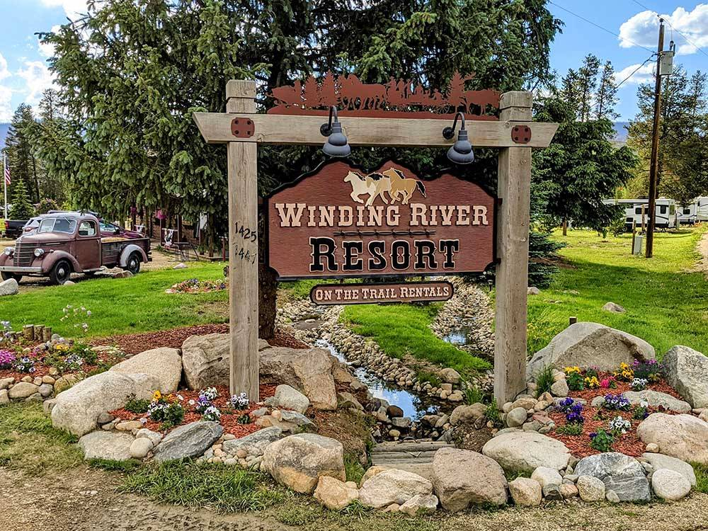 The front entrance sign at WINDING RIVER RESORT