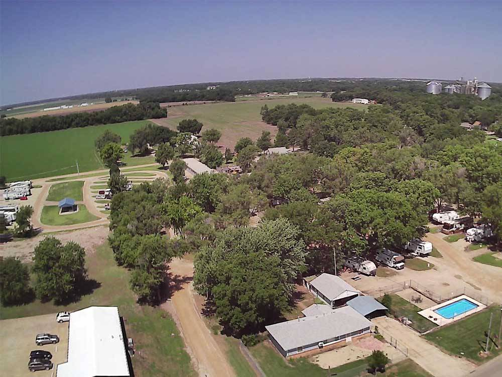 Amazing aerial view over resort at COVERED WAGON RV RESORT