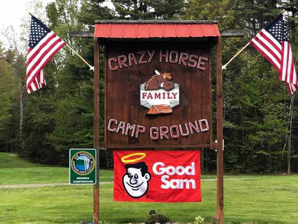 The front entrance sign at CRAZY HORSE FAMILY CAMPGROUND