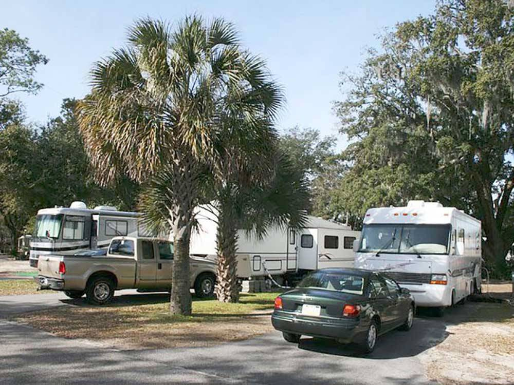RVs and trailers at campground at BAYWOOD RV PARK  CAMPGROUND