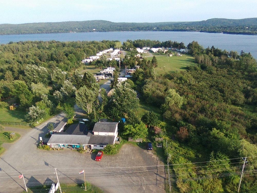 Aerial view over campground at DUNROMIN CAMPSITE