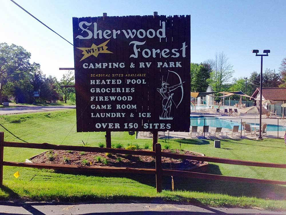 Sign leading into campground resort at SHERWOOD FOREST CAMPING  RV PARK