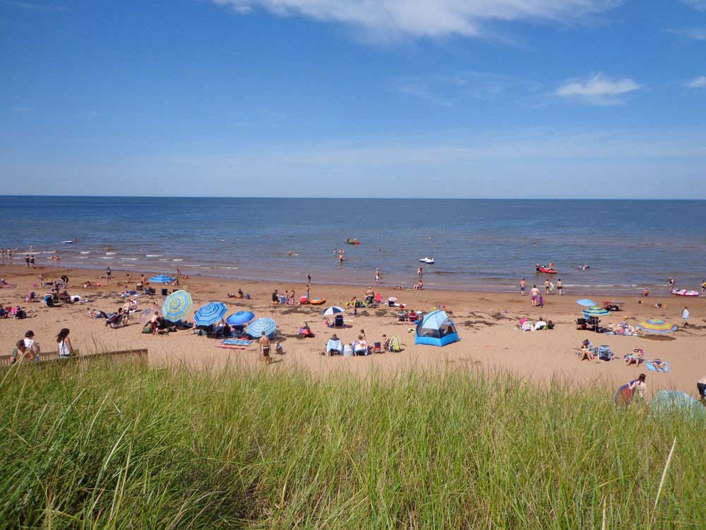 People on the beach at TWIN SHORES CAMPING AREA