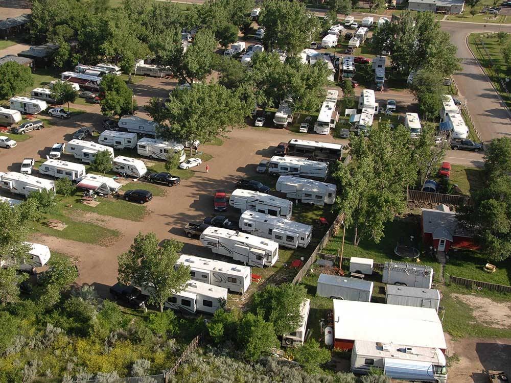Amazing aerial view over resort at RED TRAIL CAMPGROUND