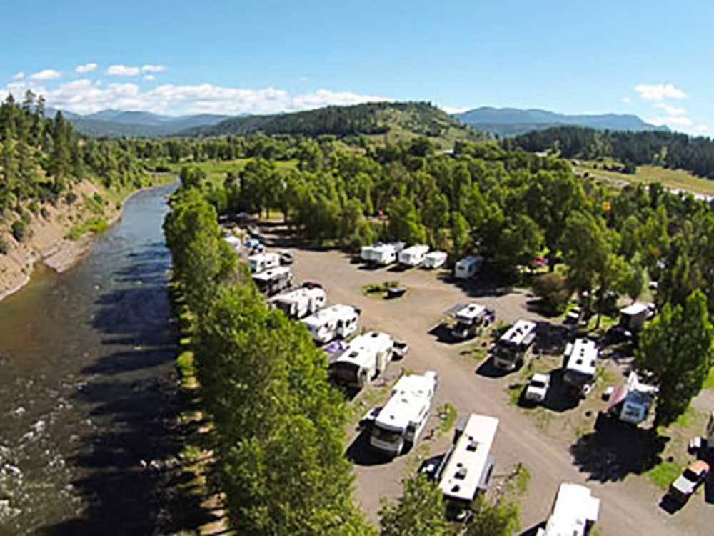 Aerial view over RV campground and stream at PAGOSA RIVERSIDE CAMPGROUND