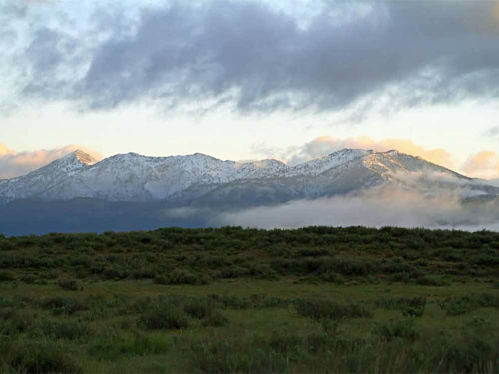 Snowcapped mountains at GEM STATE RV PARK
