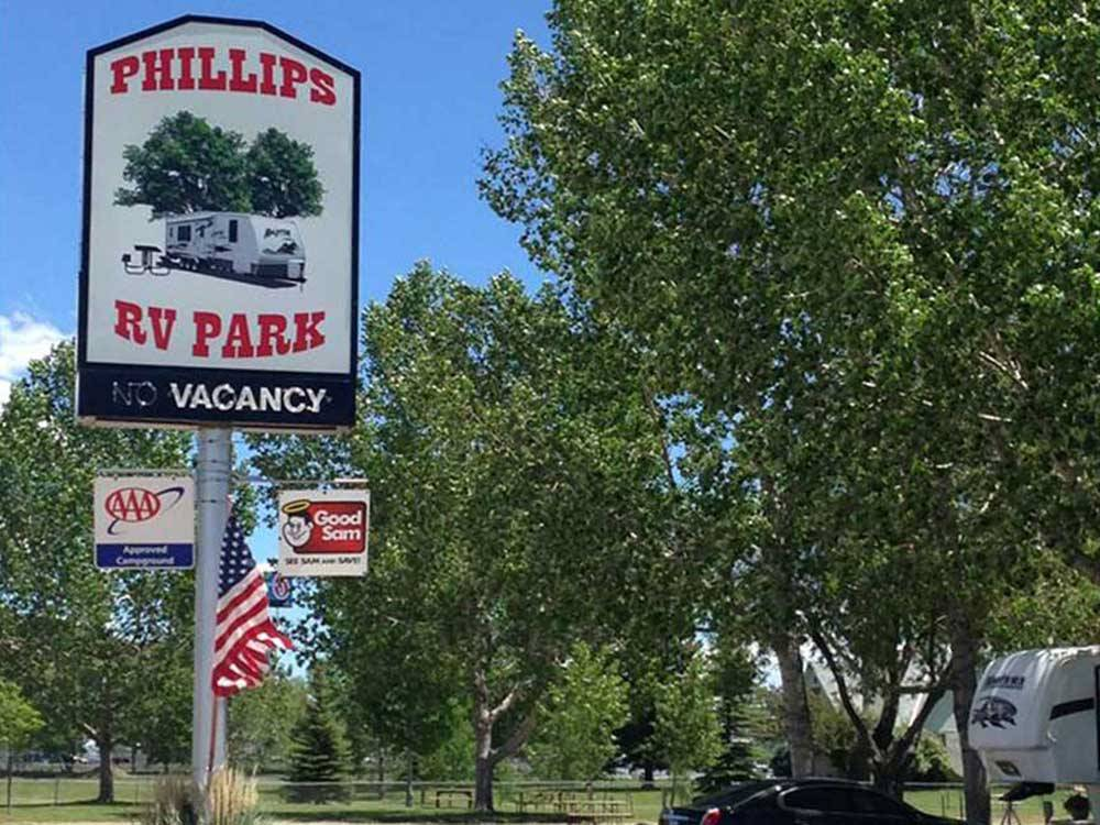 Sign at park entrance at PHILLIPS RV PARK