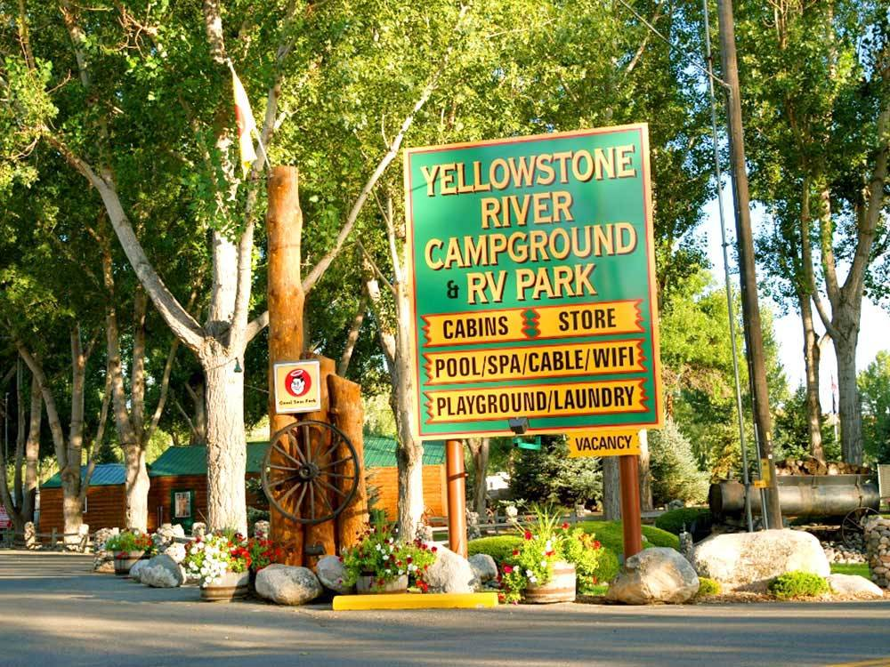 Sign at entrance to RV park at YELLOWSTONE RIVER RV PARK  CAMPGROUND