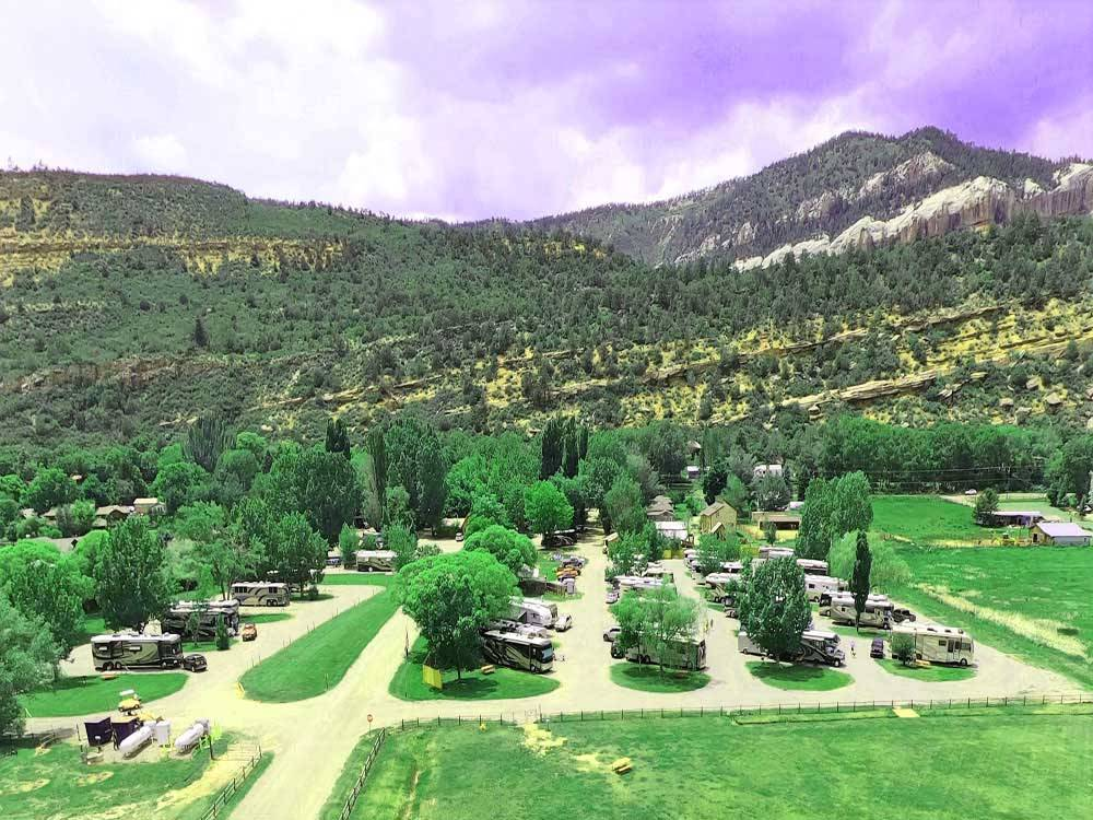 An aerial view of the campsites at ALPEN ROSE RV PARK