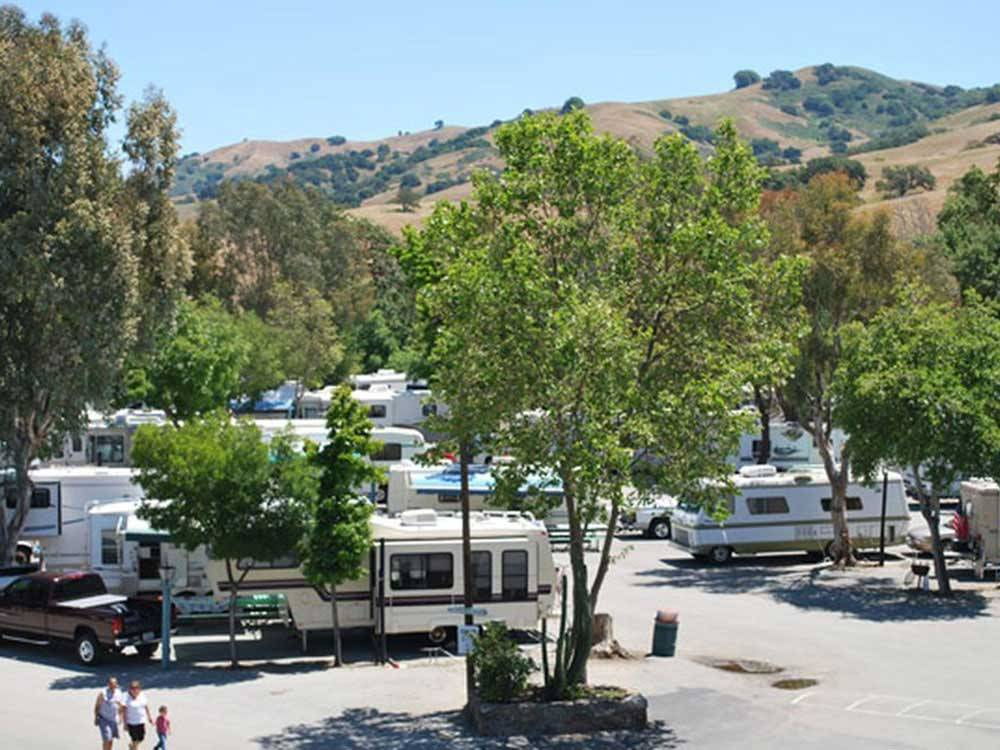 Trailers and RVs camping at FOUNTAIN RV PARK at CASA DE FRUTA RV PARK