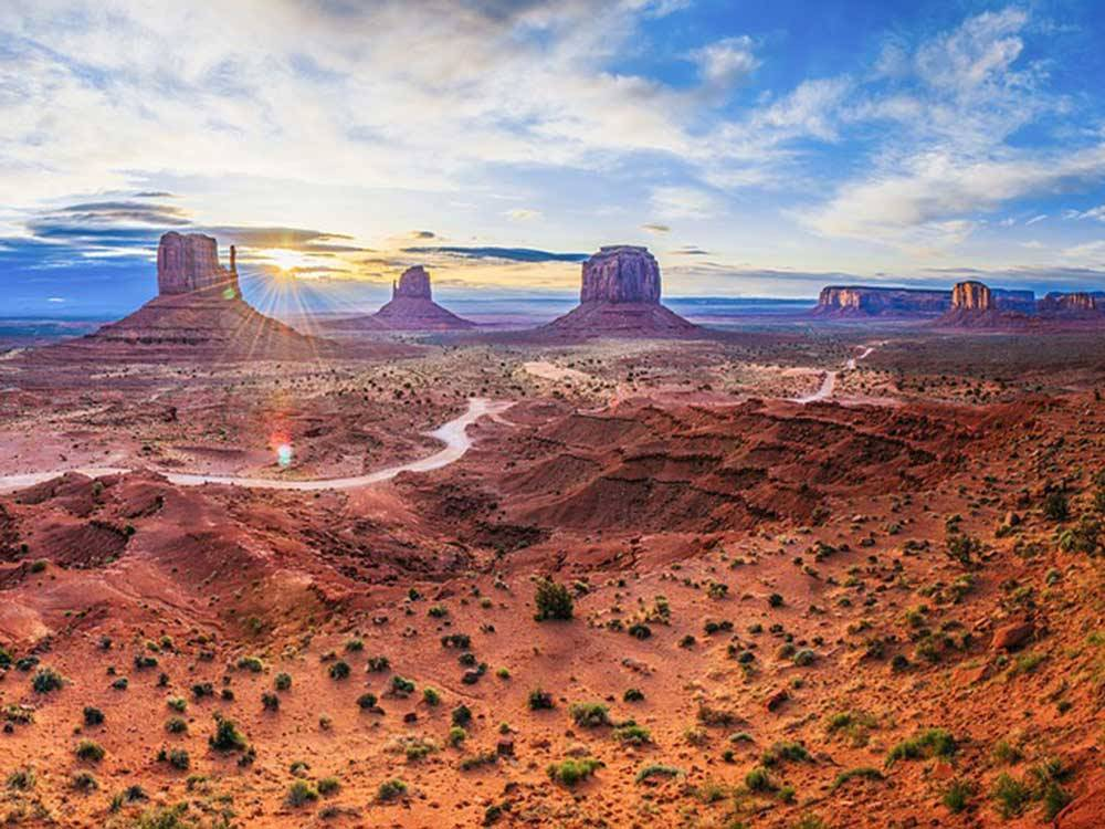 View of Monument Valley at sunset at GOULDINGS MONUMENT VALLEY CAMPGROUND  RV PARK