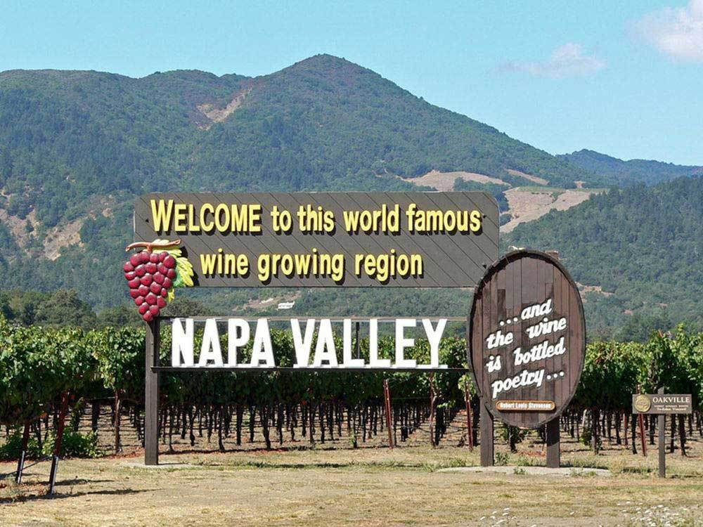 Sign leading into vineyard at NAPA VALLEY EXPO RV PARK