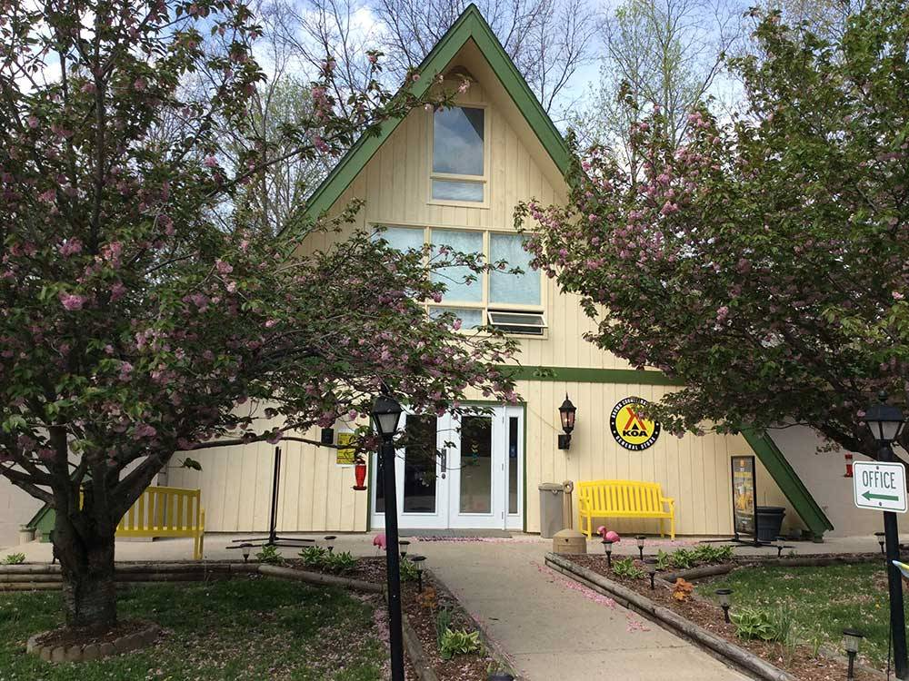 Yellow A-frame Lodge office at BROWN COUNTY KOA
