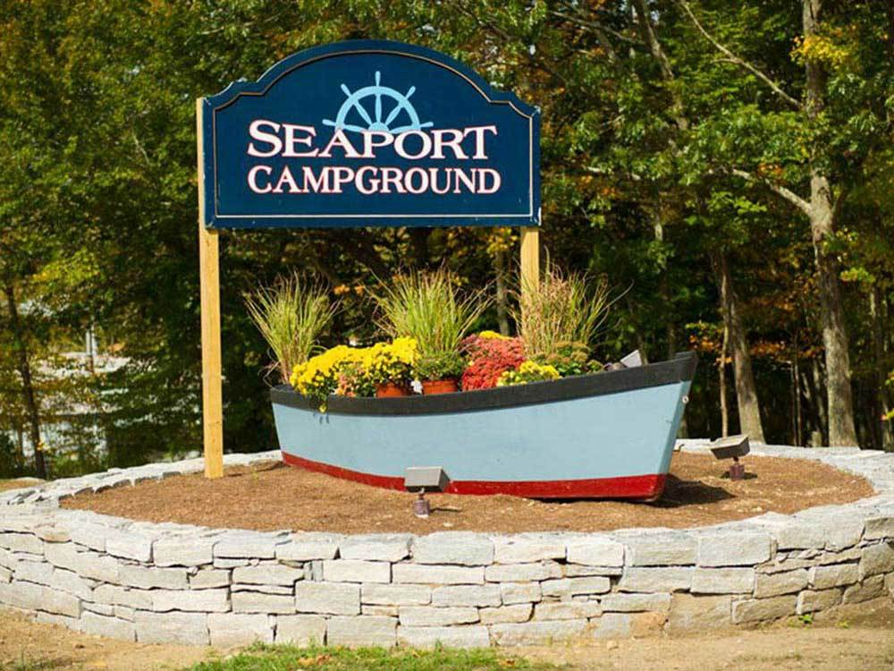 Sign at entrance to RV park at SEAPORT RV RESORT  CAMPGROUND
