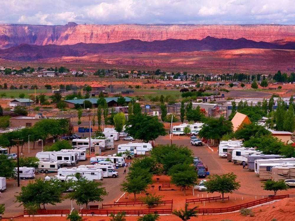 An aerial view of the campsites at dusk at PAGE LAKE POWELL CAMPGROUND