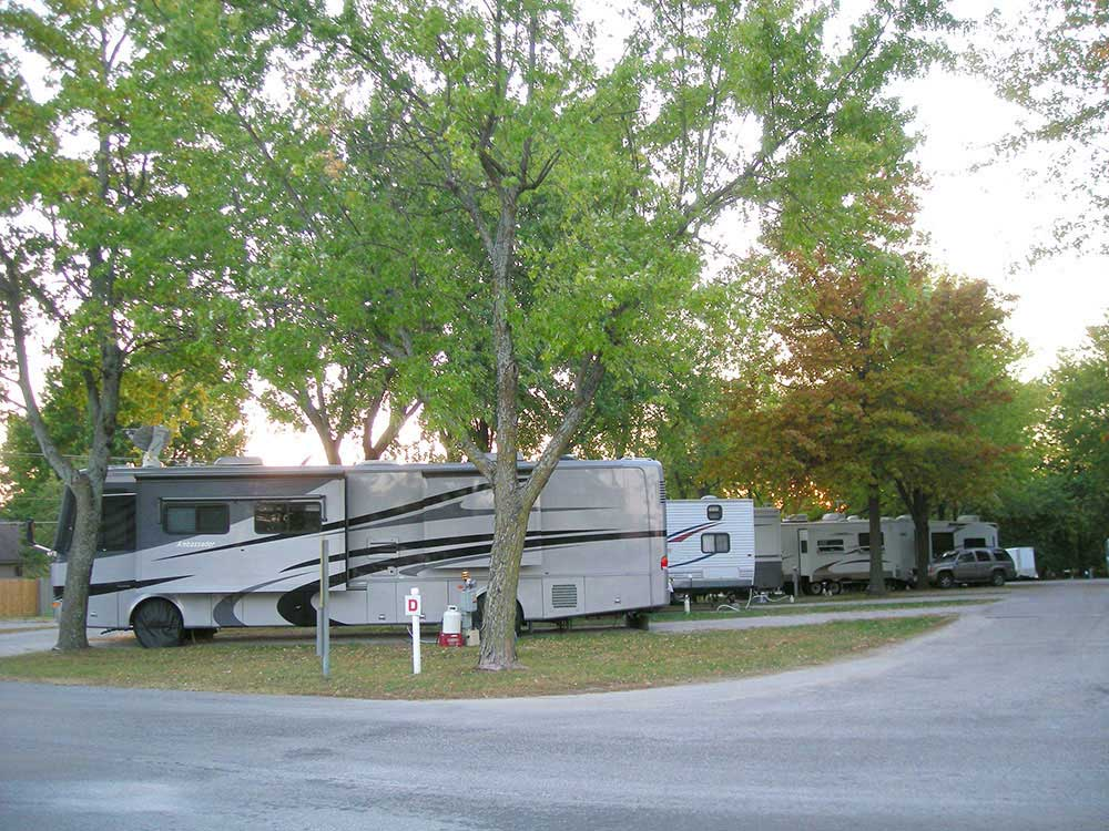 RVs and trailers at campground at TRAILSIDE RV PARK  STORE