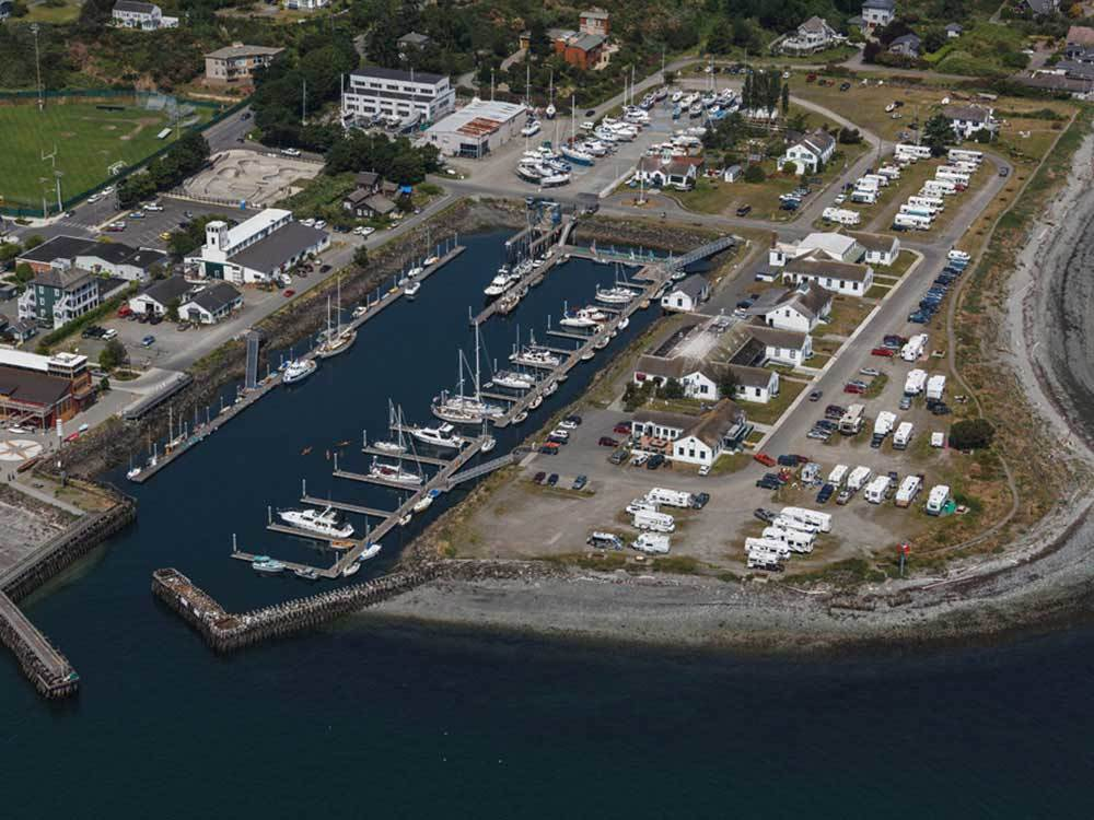 Aerial view over campground at POINT HUDSON MARINA  RV PARK