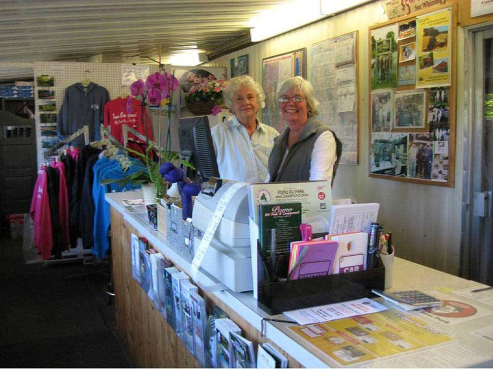 2 staff members in gift shop at POMO RV PARK  CAMPGROUND