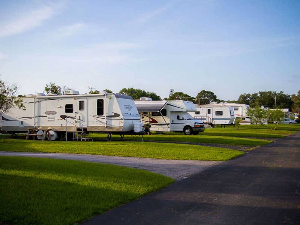 Trailers and RVs camping at FIESTA GROVE RV RESORT