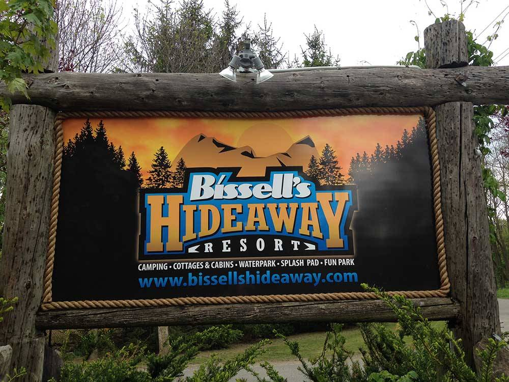 Sign at entrance to RV park at BISSELLS HIDEAWAY RESORT