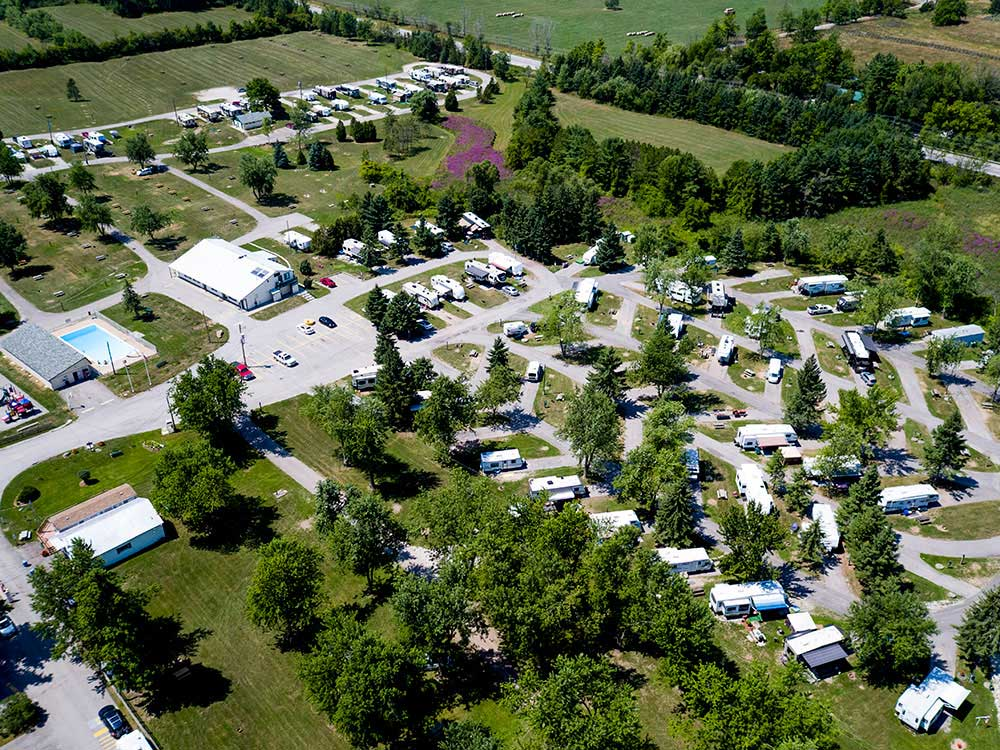 Amazing aerial view over resort at MILTON HEIGHTS CAMPGROUND