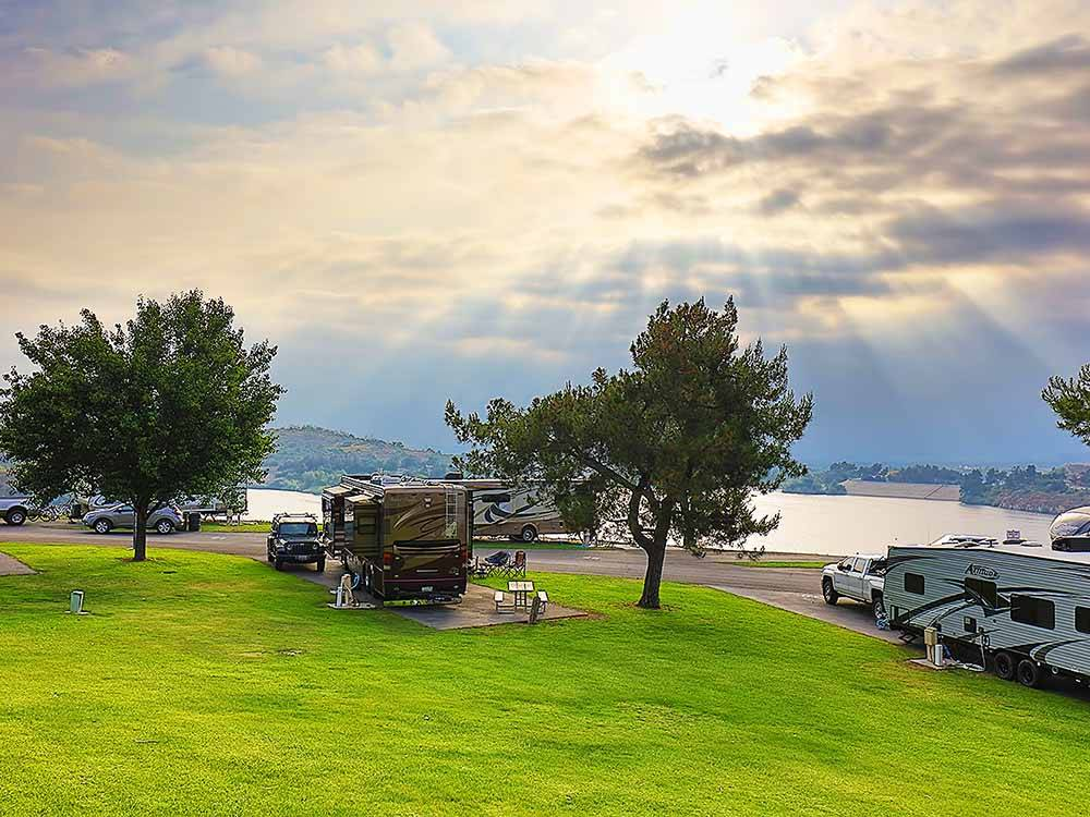RVs looking over the water at BONELLI BLUFFS RV RESORT  CAMPGROUND
