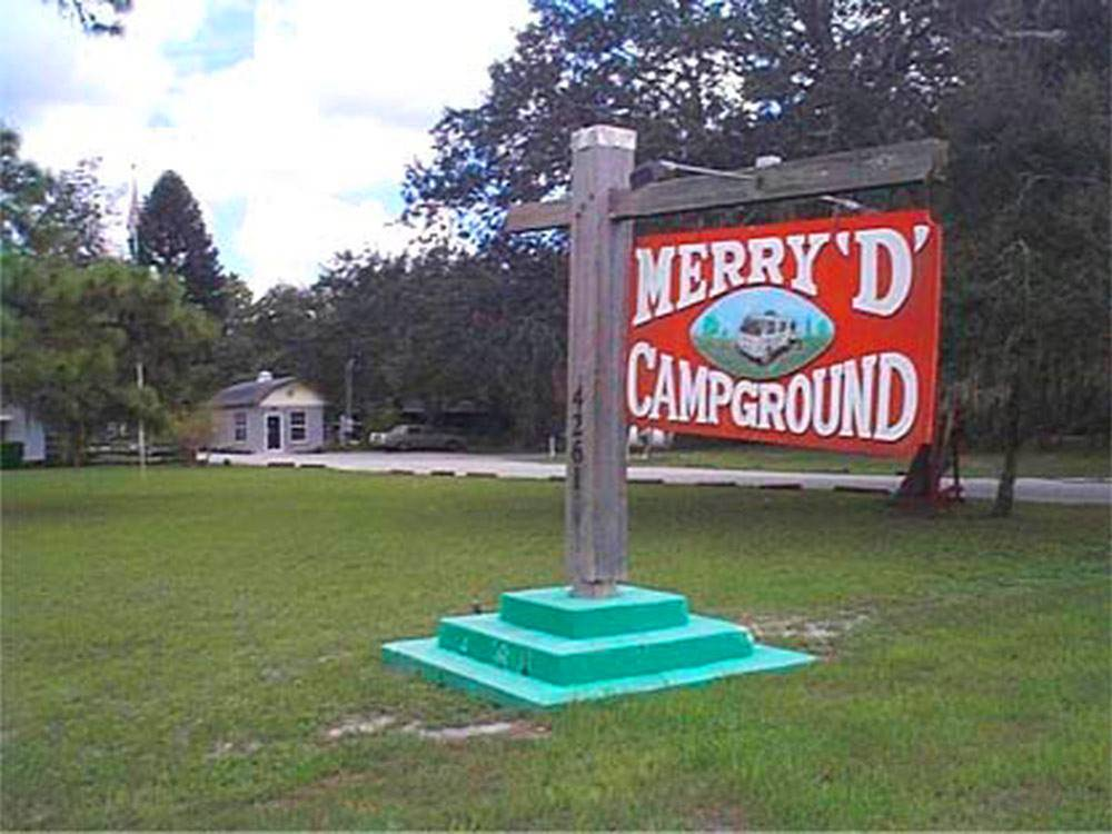 Sign at entrance to RV park at MERRY D RV SANCTUARY