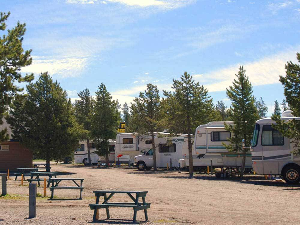 RVs and trailers at campground at PONY EXPRESS RV PARK