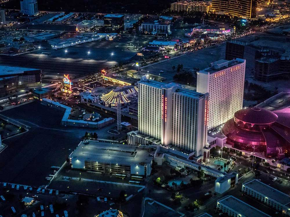 Aerial view of casino and park at night at CIRCUS CIRCUS RV PARK