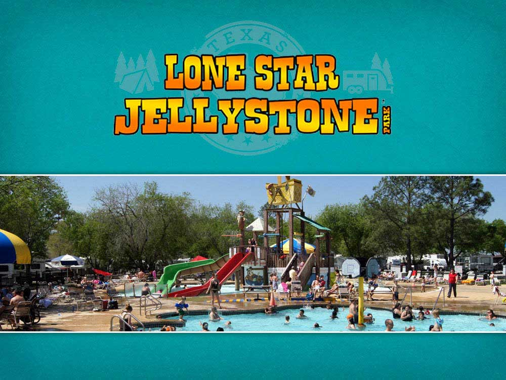 People enjoying the water park at LONE STAR JELLYSTONE PARK